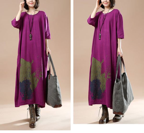 Autumn Women Long Sleeve Sweater Dress Skirt Print Long
