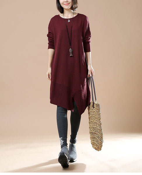 Women's Autumn Long Sleeve Round Neck Loose Red Wine Sweater Dress