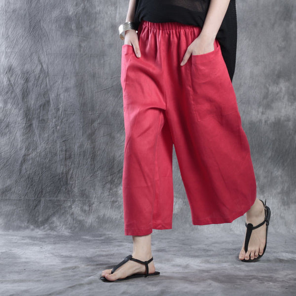 Loose Pocket Linen Casual Pants