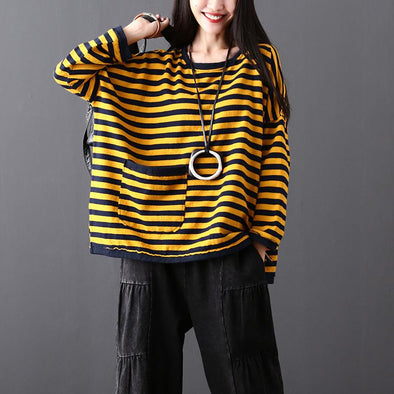Stripes Round Neck Batwing Sleeve Long Sleeve Women Autumn Top