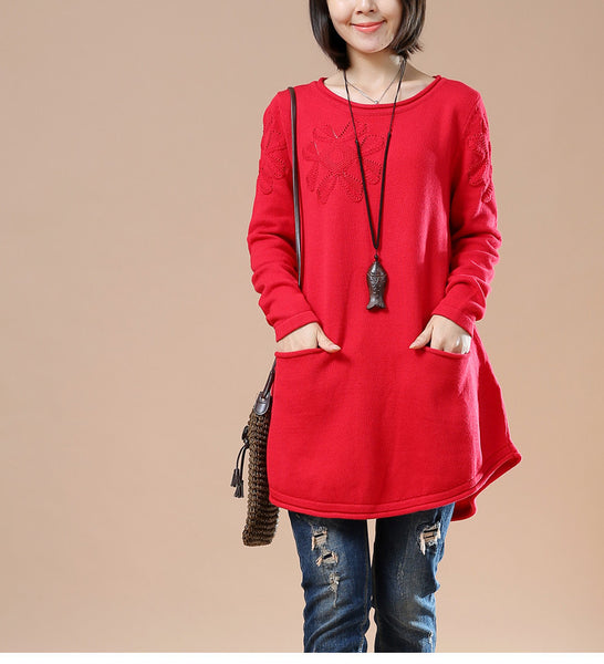 Autumn Loose Round Neck Long Sleeve Sweater Red