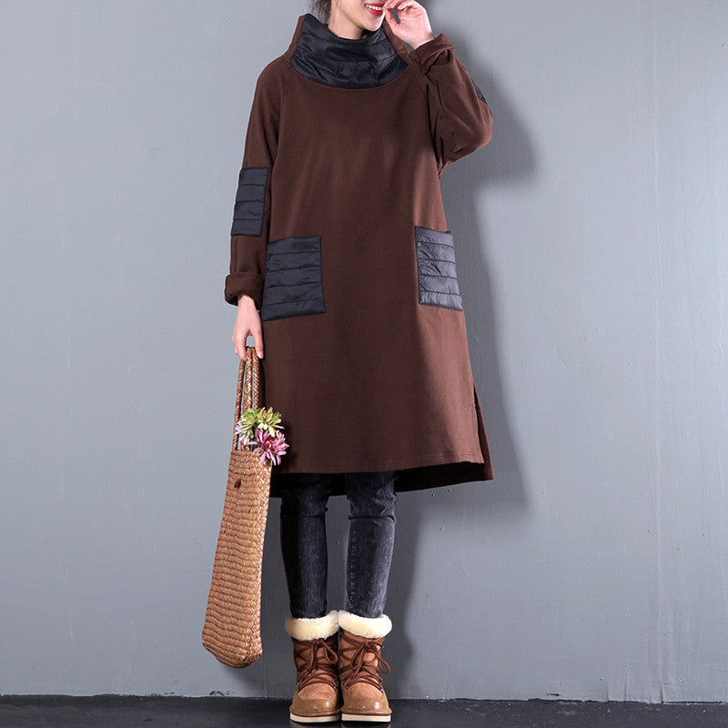 Turtleneck Splicing Pocket Large Size Dress - Buykud