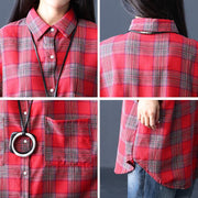 Autumn Cotton Long Batwing Sleeves Plaid Shirt Coat Outwear