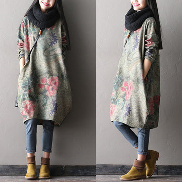 Printed woolen dress - Buykud