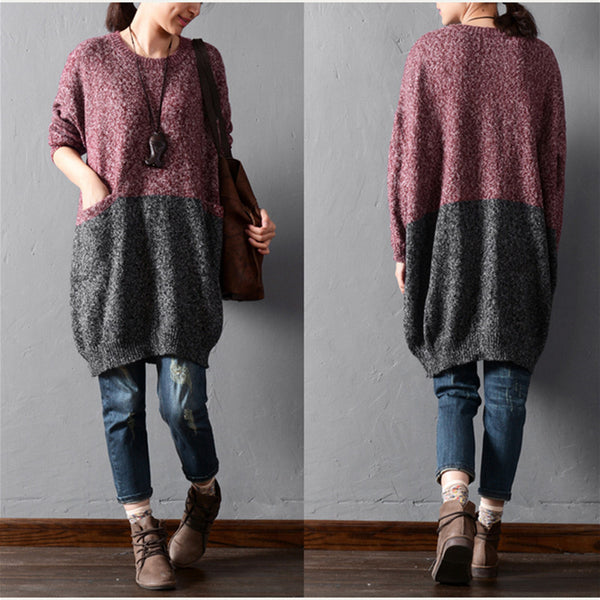 Solid color stitching sweaters - Tkdress  - 4