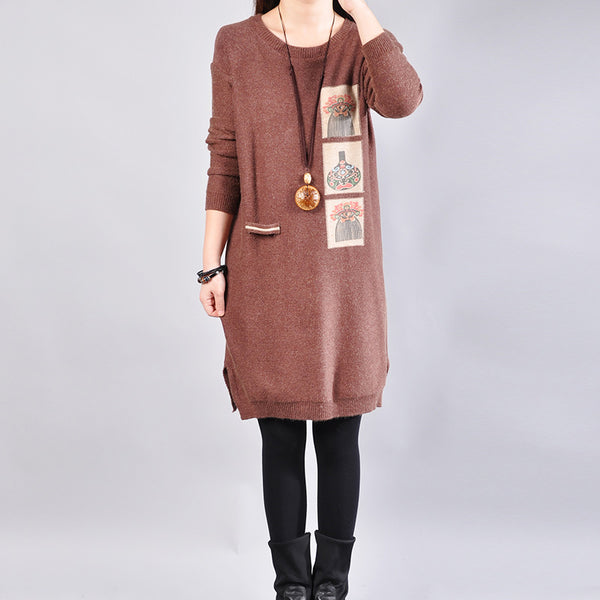 Autumn New Fashion Long Sleeve Women Knitted Sweater Dress