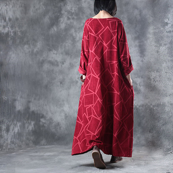 Linen Three Quarter Sleeve Geometry Pattern Red Dress - Buykud