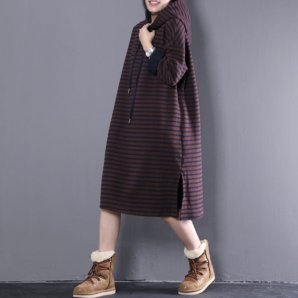Autumn Winter Loose Women Stripes Hoodies Cotton Dress