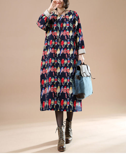 Autumn Long Sleeve Women's Casual Retro Print Dress