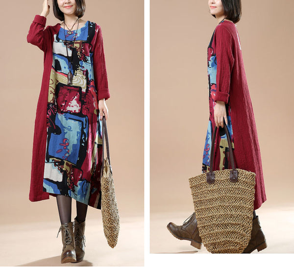 Women Autumn Plus Size Retro Print Long Sleeve Stitching Red Dress