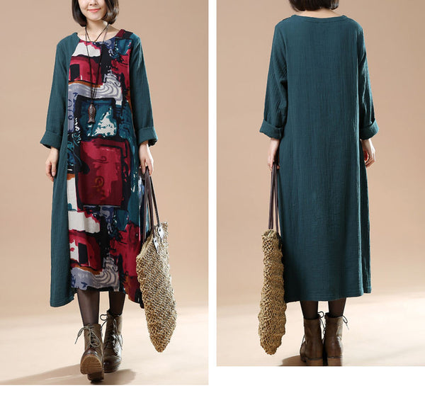 Women Autumn Plus Size Retro Print Long Sleeve Stitching Dress