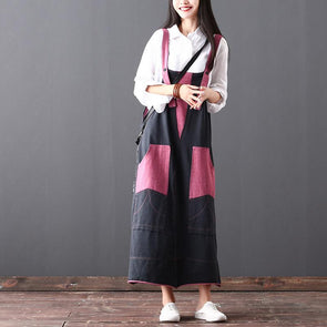 Autumn Commuter Sleeveless Pink Cotton Women Suspender Dress