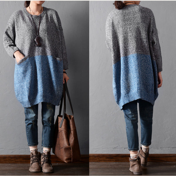 Solid color stitching sweaters - Tkdress  - 6
