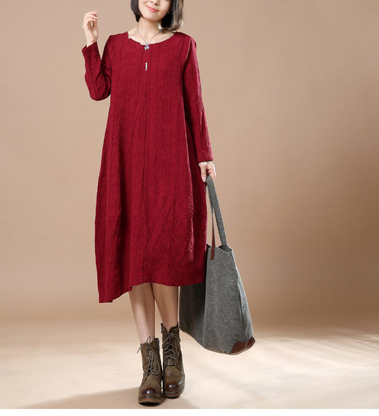 Autumn Big Large Long Sleeve Casual Round Neck Dress