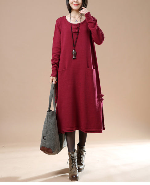 Autumn New Female Long Sleeve Round Neck Plate Buttons Pocket Sweater