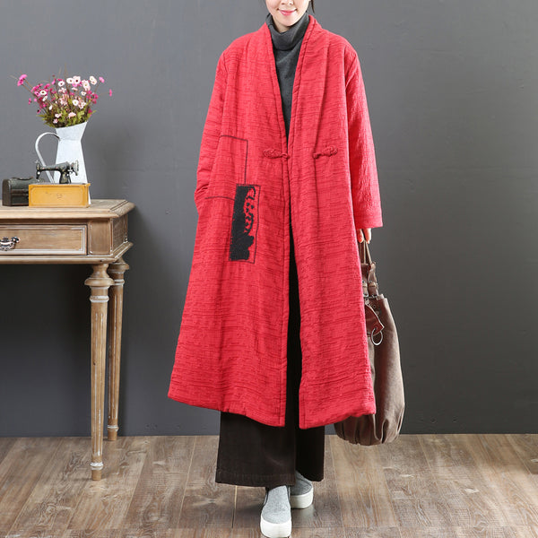 Winter V Neck Long Sleeve Loose Women One Button Coat