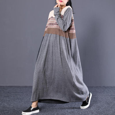 Women Striped Grey Maxi Cotton Sweater Dress