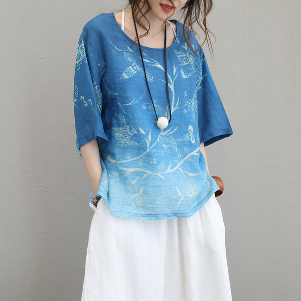 Floral Loose Casual Summer Short Sleeve Blue Blouse