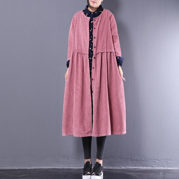 Cotton Long Sleeve Solid Pink Caramel Women Coat