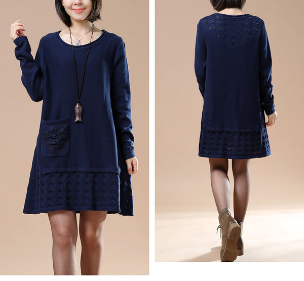 Autumn Long Sleeve Embroidered Navy Blue Sweater
