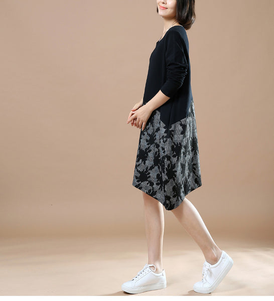 Autumn Large Size Casual Long Sleeve Printing Stitching Cotton Linen Black Dresses