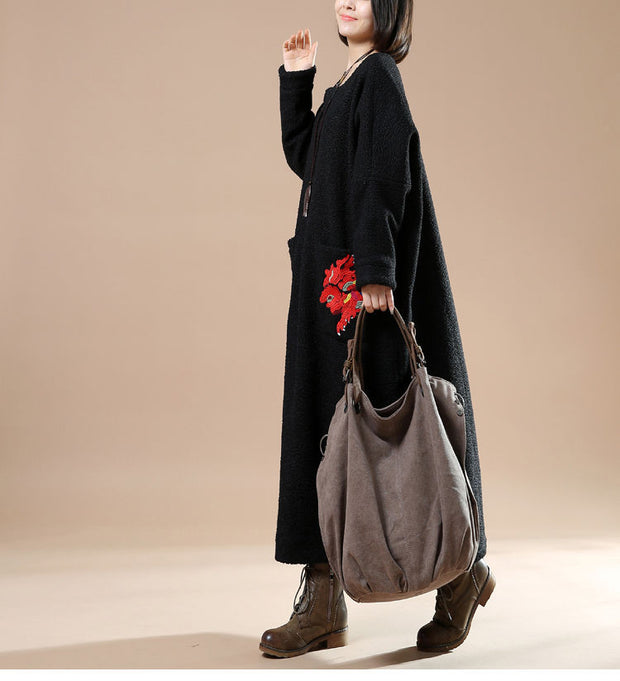 Autumn Plus Size Round Neck Long Sleeve Woolen Jacket Embroidered Casual Dress - Buykud