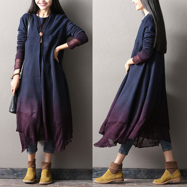 Gradient color wool dress - Tkdress  - 1