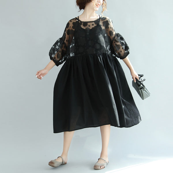 Casual Cotton Bow Splicing Floral Black Twinset Dress
