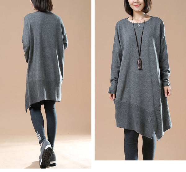 Women's Autumn Long Sleeve Round Neck Loose Gray Sweater Dress
