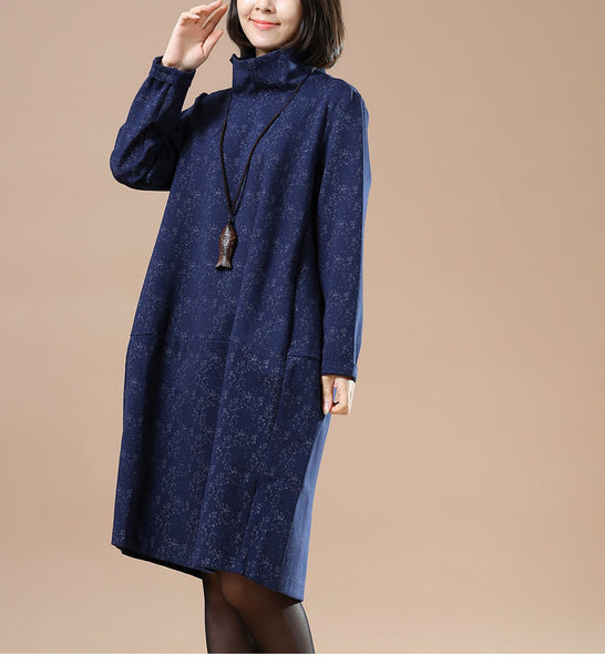 Autumn Large Size Women Casual Long Sleeve Blue Dress