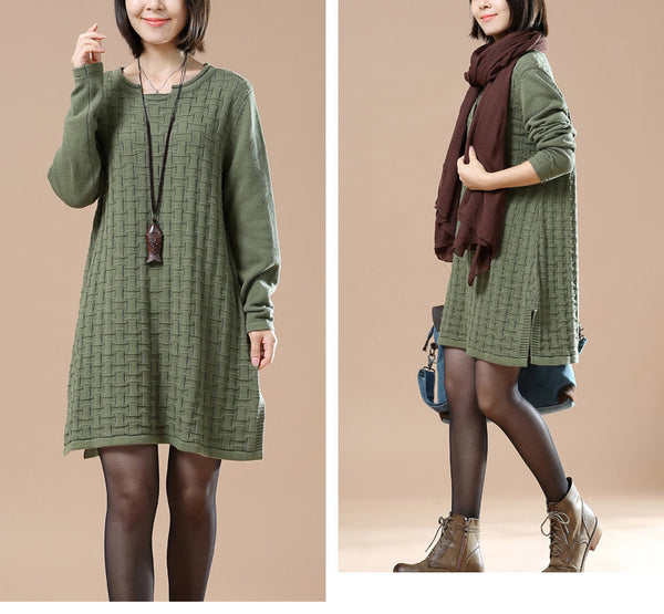 Autumn Green Casual Long Sleeve Round Neck Knit Sweater