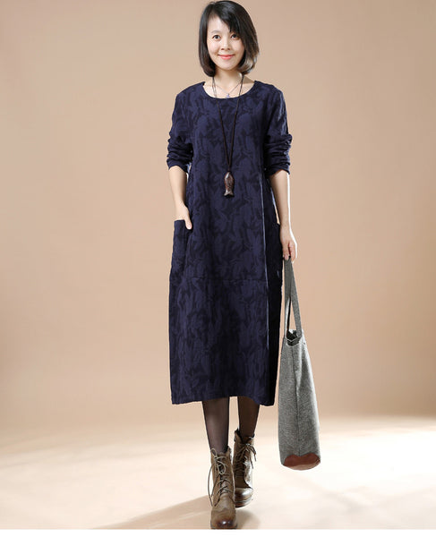 Blue Cotton Linen Casual Long Sleeve - Buykud