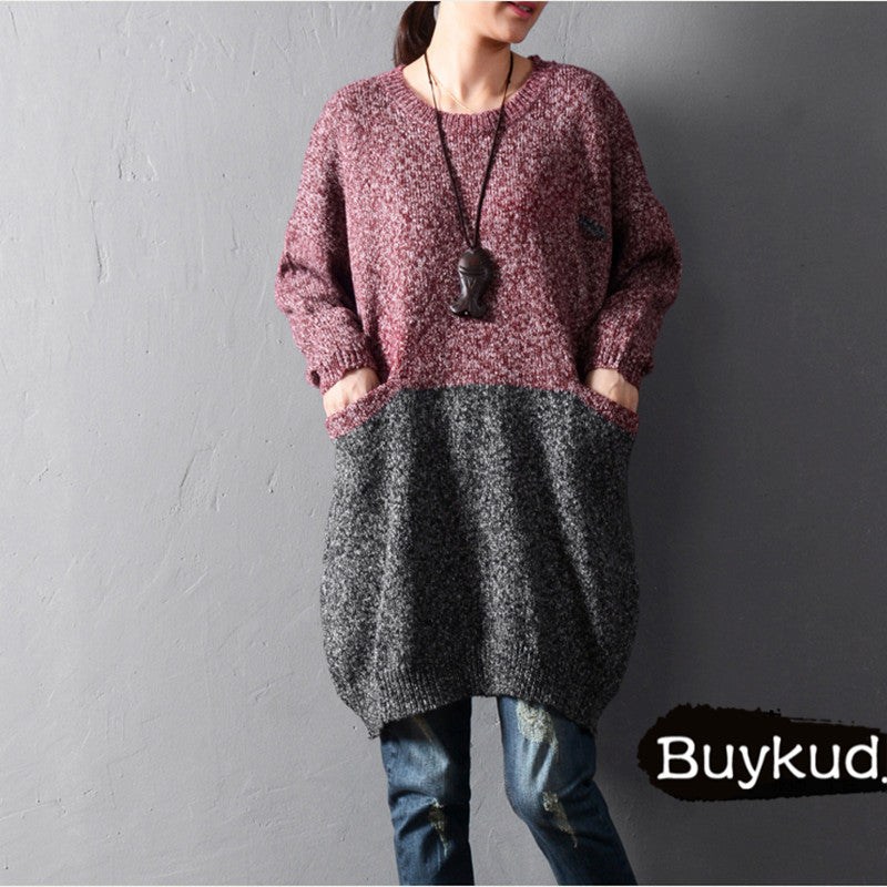 Solid color stitching sweaters - Tkdress  - 3
