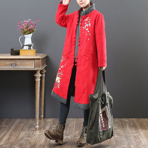 Women Autumn Winter Stand Collar Single Breasted Long Sleeve Coat - Buykud