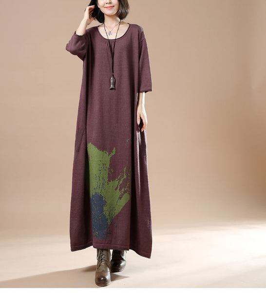 Autumn Women Long Sleeve Sweater Dress Skirt Print Long Brown