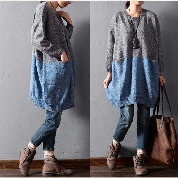 Solid color stitching sweaters - Tkdress  - 5