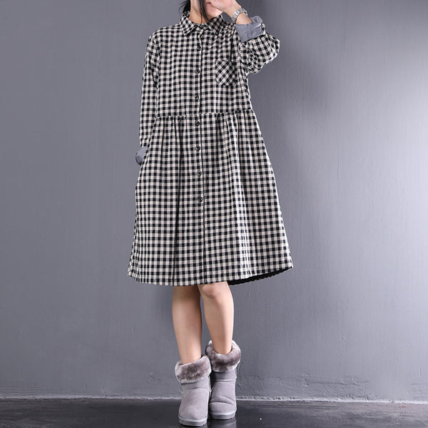 Women Long Sleeve Polo Collar Single Breasted Plaid Dress - Buykud