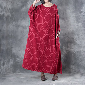 Linen Three Quarter Sleeve Geometry Pockets Red Dress - Buykud