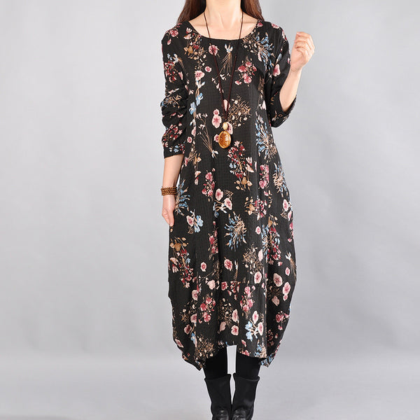 Round Neck Loose Printing Long Sleeves Black Dress