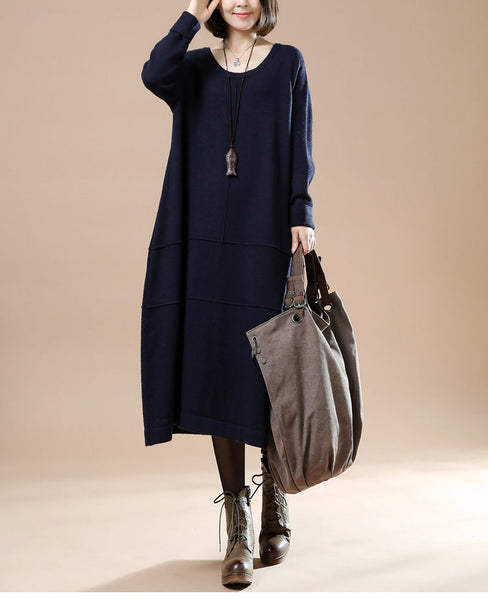 Autumn Round Neck Long Sleeve Sweater Blue