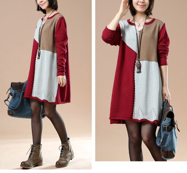 Autumn Long Sleeve Retro Stitching Loose Red Sweater