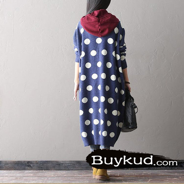 Knitted Dot Cardigan coat - Buykud