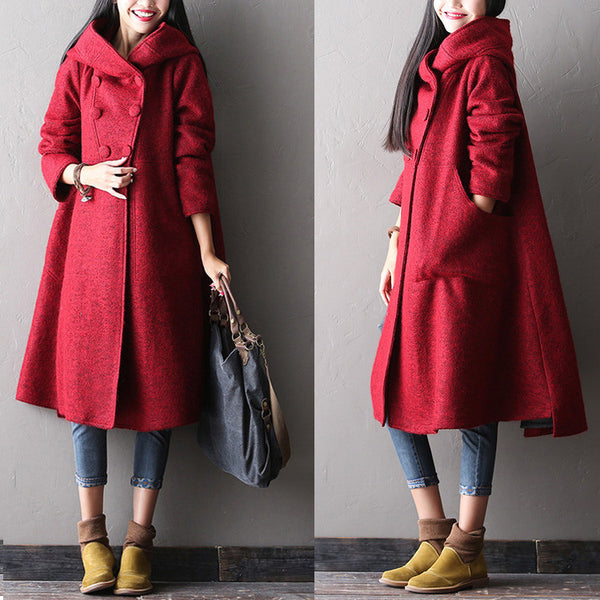 Women winter long warm coat - Buykud