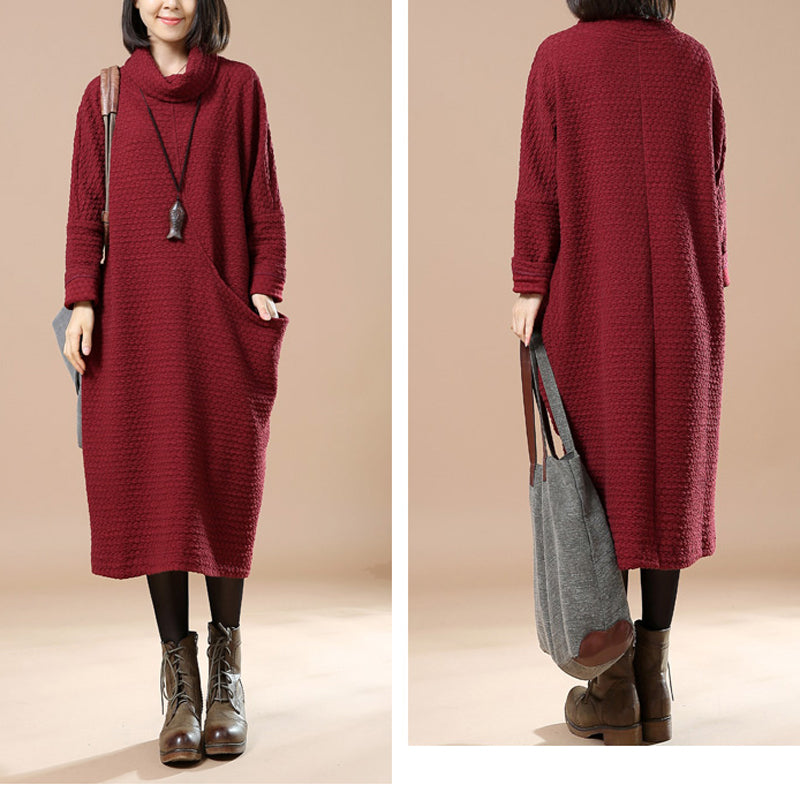 Turtle Neck Long Sleeves Big Pockets Women Wine Red Sweater Dress - Buykud