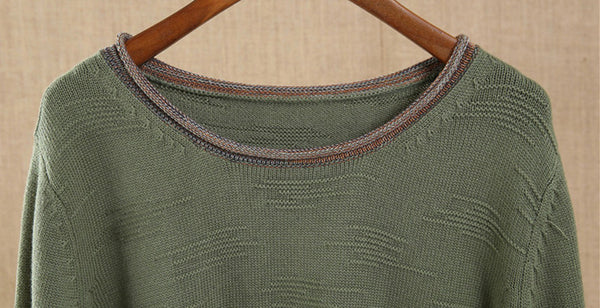 Green Long sleeve Round Neck Sweater