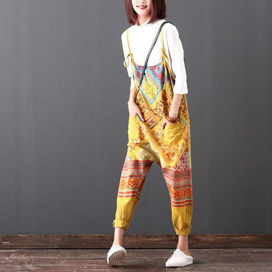 Women Commuter Autumn Yellow Cotton Jumpsuits