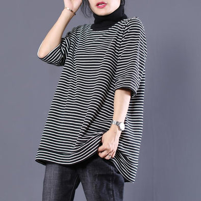 New Style Fall Casual 1/2 Sleeve Polo Neck Black and White Striped Top T-Shirt