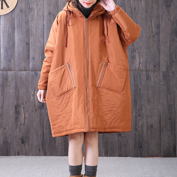 Winter Loose Hoodie Long Sleeve Thicken Polyester Solid Women Coat