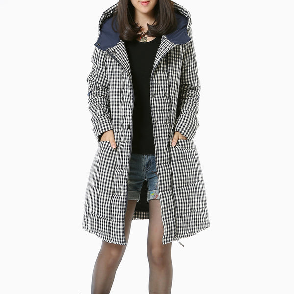 Lattice WomenLong Sleeves Casual Hoody Winter Coat - Buykud