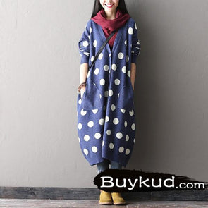 Women Dots Cardigan Autumn Blended Coat